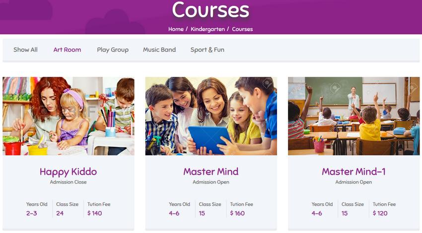 kids-courses سیستم مدیریت مراکز آموزشی LMS King pro جوملا  - گلچین آنلاین