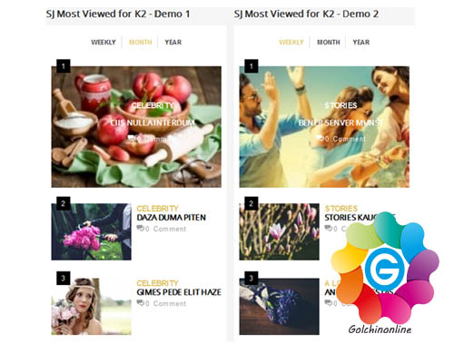 sj_mostviewd_2 نمایش موزائیکی مطالب با SJ Grid Slider For K2 - گلچین آنلاین